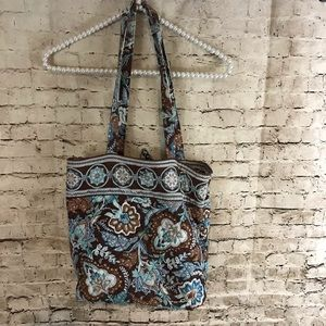 Vera Bradley Java Blue & Brown Shoulder Tote Bag